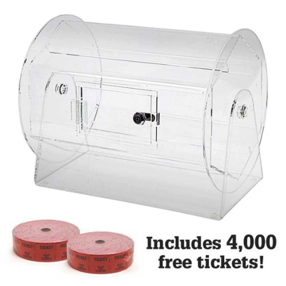 Medium Acrylic Raffle Drum w/4,000 Free Tickets by Midway Monsters by MIDWAY MONSTERS