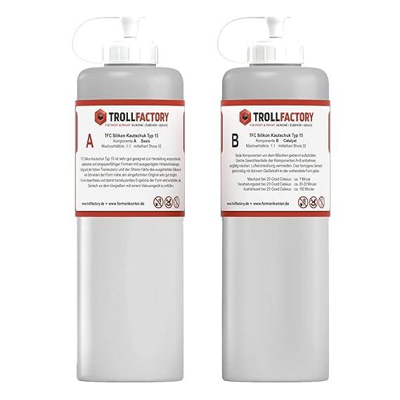 TFC Silikon Kautschuk Typ 15 I Dubliersilikon mittelhart I transluzent I 500 g (2 x 250 g)