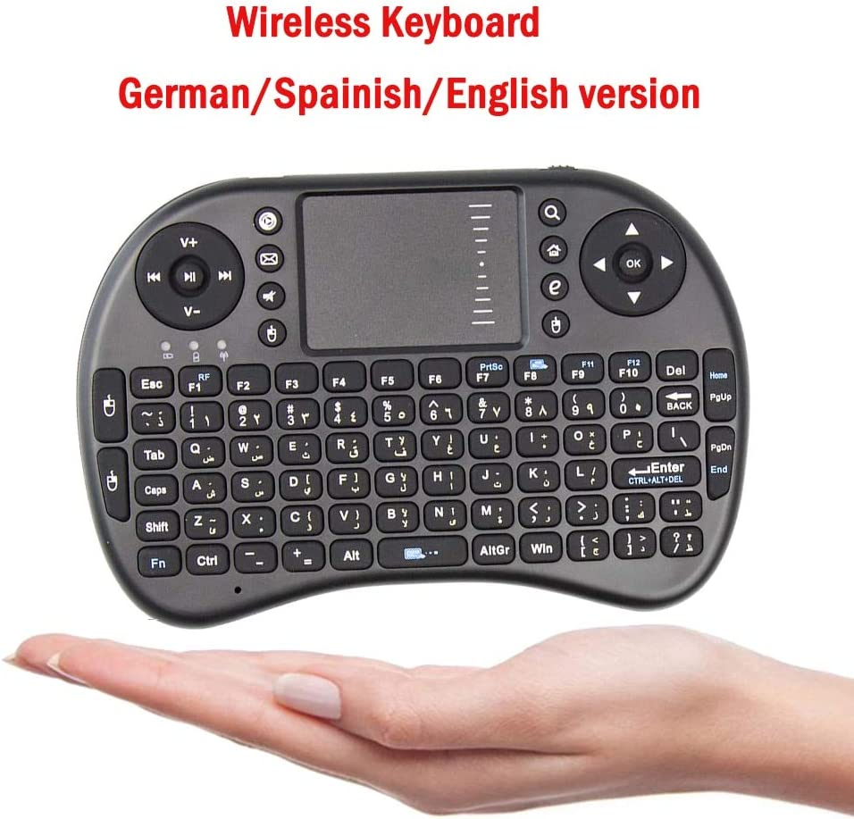 Calvas Hot German English Spanish 2.4GHz Wireless i8 Keyboard Touchpad i8 keyboard Handheld Air Mouse For Laptop Android TV BOX x96 H96 Color: Black Russian