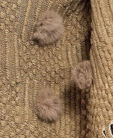 ACVIP Donne Orlo Frange Poncho Invernale Maglia Scialli Cape Pullover Top con Finto Pur Pompon