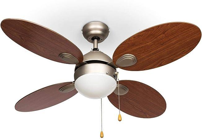 2 sentidos de giro de di/ámetro ventilador de techo 42 marr/ón claro 2 en 1: ventilador de techo con l/ámpara 3 velocidades 107 cm 4 aspas silencioso Klarstein Valderama caudal de 7.480 m/³//h