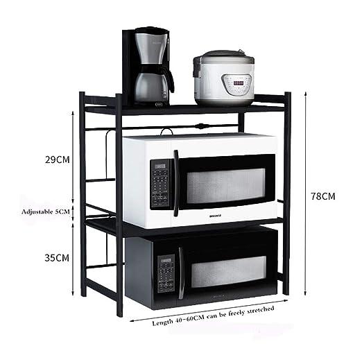 Estantes de almacenamiento de cocina, estante telescópico negro ...