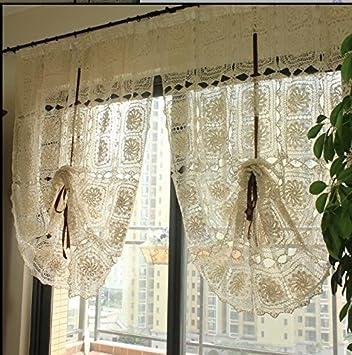 Amazon.com: Lace Window Curtain, French Crochet Window Panels ...