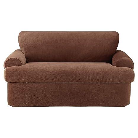 SureFit Stretch Pique 3-Piece - Sofa Slipcover - Chocolate