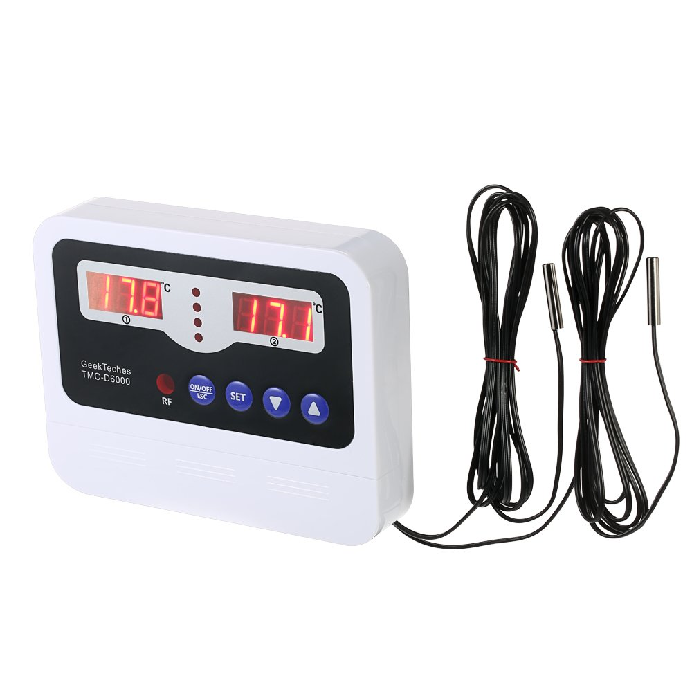 KKmoon LED Digital Intelligent High-power Thermostat Temperature Controller Pre-wired Cord NTC Heating Cooling Control Switch with 2 Waterproof Sensor Probe TMC-D6000 (Single-circuit/Dual-circuit)