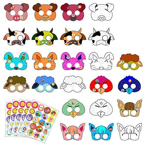 BeYumi 24 PCS DIY Farm Animal Paper Masks, Barnyard Animal Marks for Kids Birthday & Farmhouse Themed Party Favors -