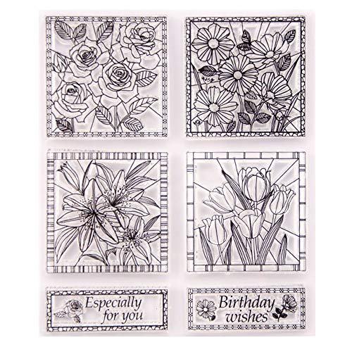 (Flowers Rose Lily Tulip Daisy Stamp Rubber Clear Stamp/Seal Scrapbook/Photo Album Decorative Card Making Clear)