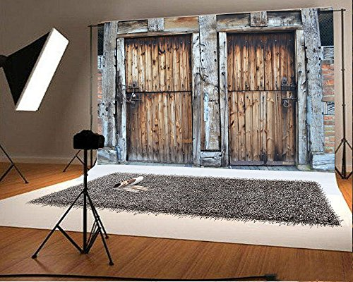 Laeacco 7x5FT Vinyl Backdrop Historic Door Threshing Barn Photography Background Two Doors Wooden Wall Texture Weathered Grunge Background Rustic Countryside Children Portraits Background Photo