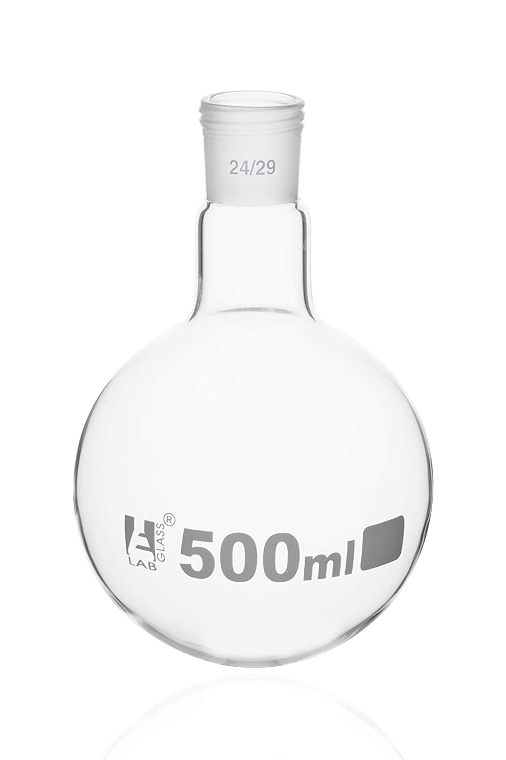 Interchangeable Screw Thread Joint Borosilicate Glass 500ml Round Bottom Boiling Flask with 24//29 Joint Eisco Labs