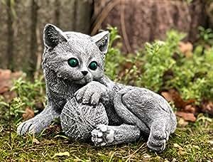 piedra Figura Gatos Tuerca con Kitten Set, piedra fundido macizo, de y resistente a heladas hasta -30°C