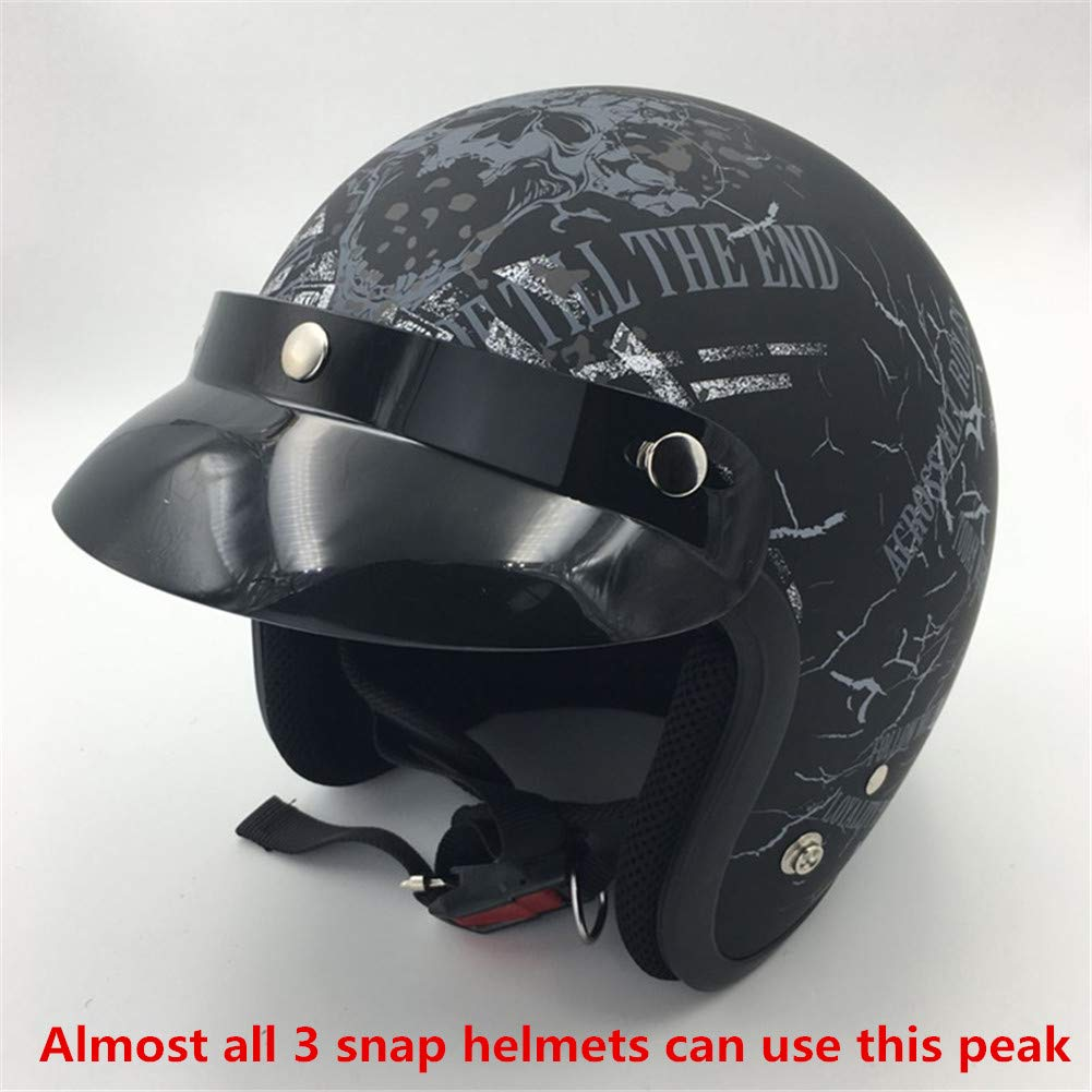 VCOROS 3 Snap Helmet Peak Covers Open Face Retro Motorcycle Helmet Sun Shade Protector Black Shield