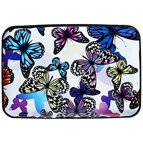 Butterfly Card Credit - Aluminum Wallet RFID Blocking Slim Metal Business ID Credit Card Holder Hard Case (Butterflies)