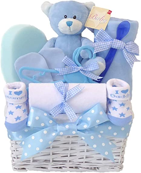 New Baby Gift Box Set Blue Newborn Boy Baby Gift Set with Blanket and Comforter