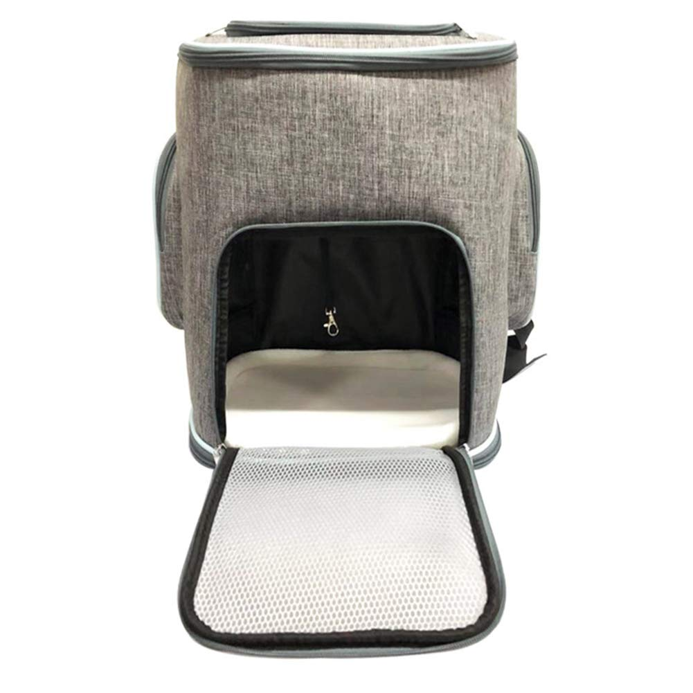 Grey WQING Waterproof Padded Fabric Pet Dog Puppy Cat Backpack Rucksack Carrier Bag Top Open Breathable Mesh Outdoor