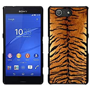 // PHONE CASE GIFT // Duro Estuche protector PC Cáscara Plástico Carcasa Funda Hard Protective Case for Sony Xperia Z3 Compact / Tiger Furry Pattern Animal Wild Big Cat /