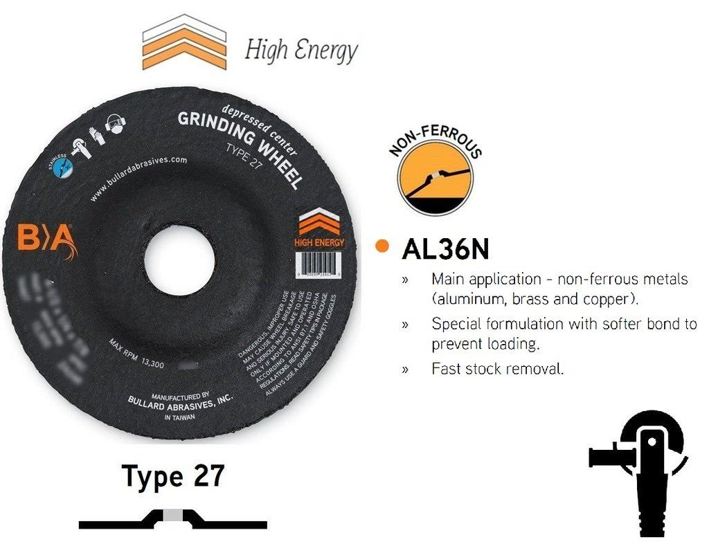 (25) Bullard Abrasives 24464 (4-1/2 x 1/4'') AL36N Type 27 Depressed Center Angle Grinding Wheels. Professional Grade. 7/8 Arbor. 13300 Rpm. For non-ferrous metals.