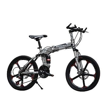 LETFF Bicicleta Plegable para Adultos 20 Pulgadas de Velocidad Freno de Disco Amortiguador Bicicleta de montaña