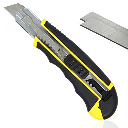 PRETEX cúter con mango de goma y 2 cuchillas de repuesto | cuchilla para cortar alfombras, cuchillo universal