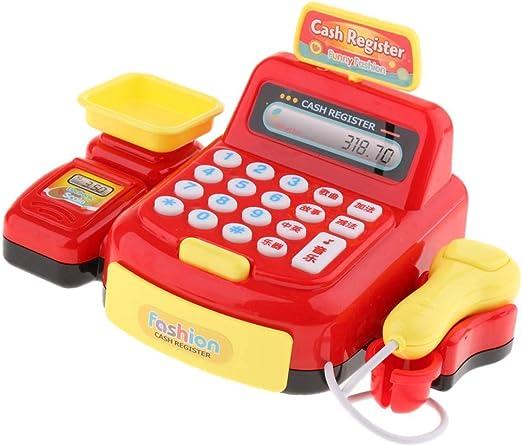 Wencaimd Caja Registradora Juguete Ligero Electrónico Compras Falso Juego Dinero Máquina Con Lector Para Supermercado, Comida Tienda O Café: Amazon.es: Hogar