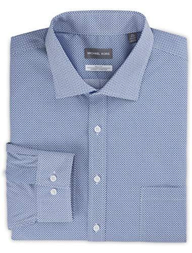 Michael Kors Non-Iron Mini Geo Print Stretch Dress Shirt Blue