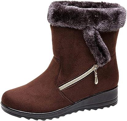 ZARLLE/_ Hombre Zapatillas Botas de Nieve para Mujer,Invierno Mantener Caliente Zapatos Planos,ZARLLE M/ás Terciopelo Botines,Moda Botas Medias,Botas Cortas de Nieve