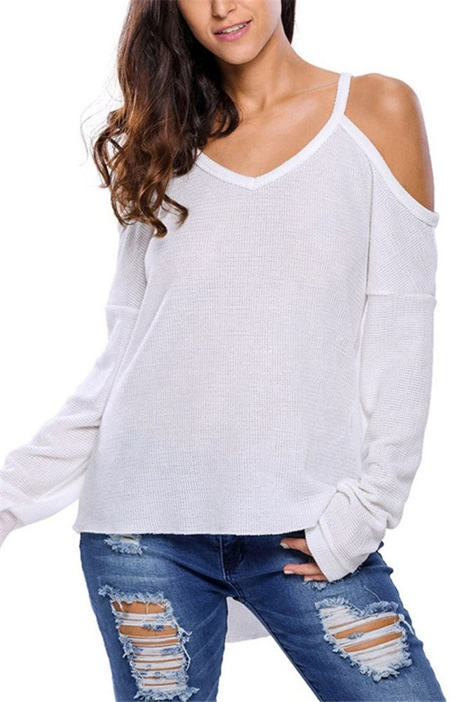 iNewbetter Womens V Neck Cut Out Cold Open Shoulder Long Sleeves Loose Knitted Sweater Top Blouse IN27624-White-M