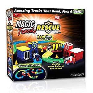 Magic Tracks As Seen on TV 220-Pieces Bend Flex Roll Glow in the Dark Rescue Track and Emergency Cars Set