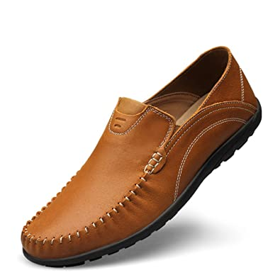 07a03f05ce1 Shenn Men s Comfort Slip on Casual Moccasins Brown Leather Loafers Shoes  US7 99888