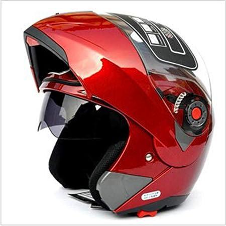 Casco integral de cara unisex modular abatible frontal ABS casco traje de bicicleta de carretera casco de moto xx-large rosso: Amazon.es: Hogar