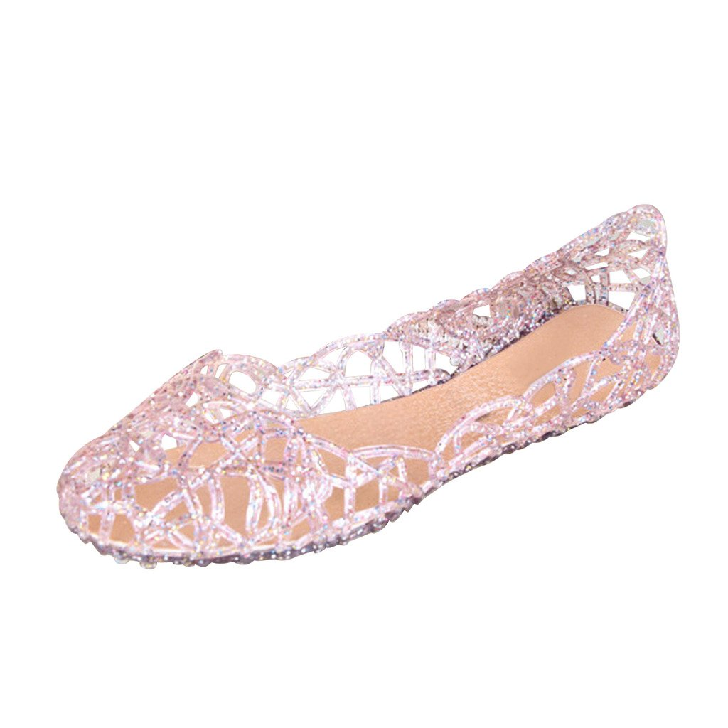 Retro Vintage Flats and Low Heel Shoes Dear Time Women Flat Heel Summer Beach Jelly Shoes $10.99 AT vintagedancer.com