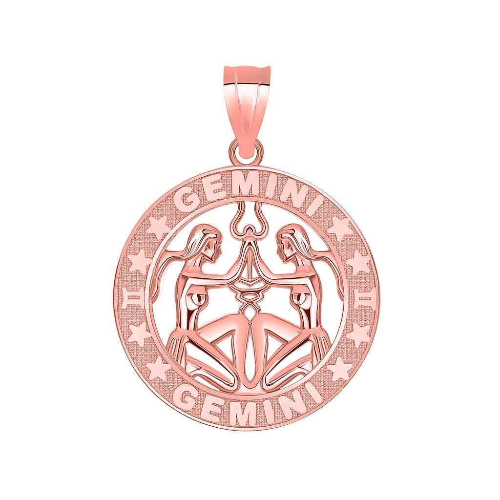 14k Rose Gold Zodiac Sun Sign Symbol Pendant