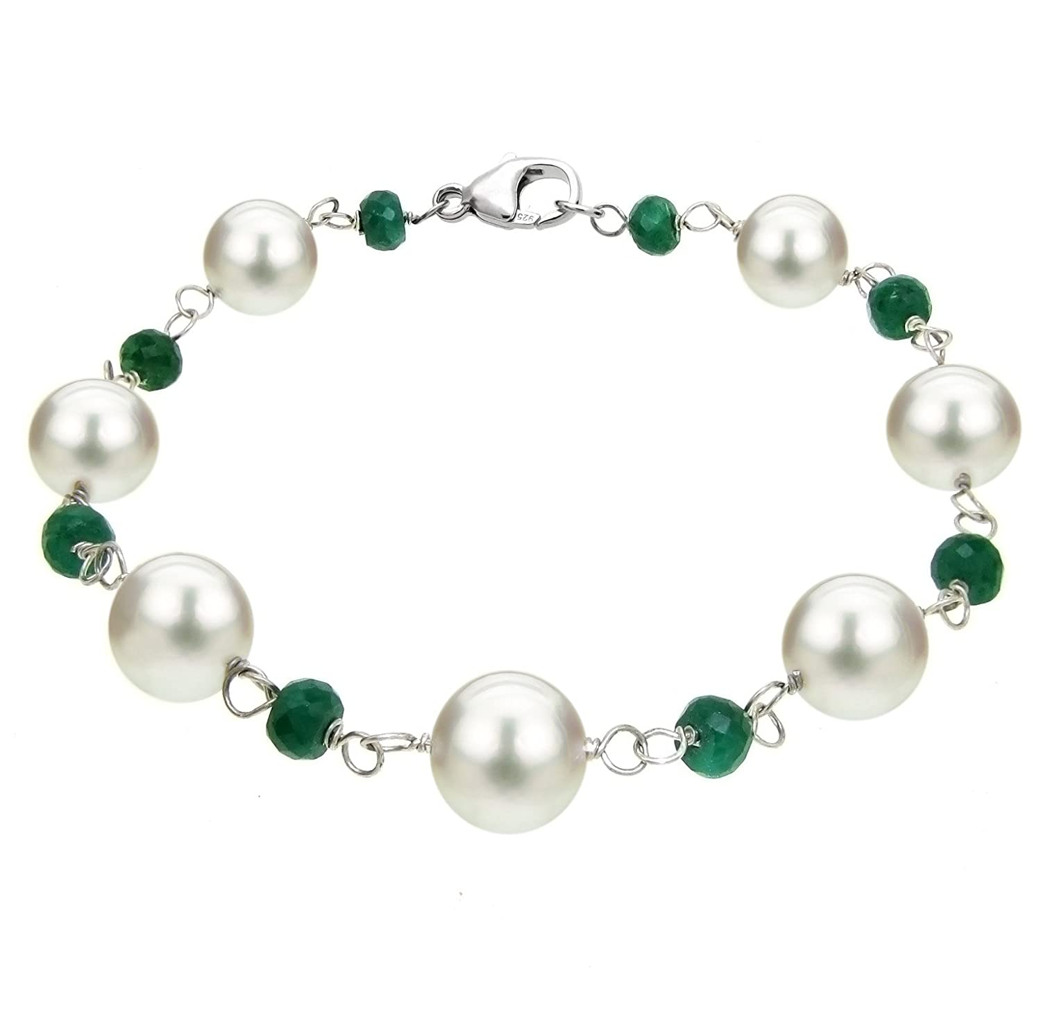 Sterling Silver 8-8.5mm White Freshwater Cultured Pearl 4mm Simulated Green Emerald Bracelet, 7.5""