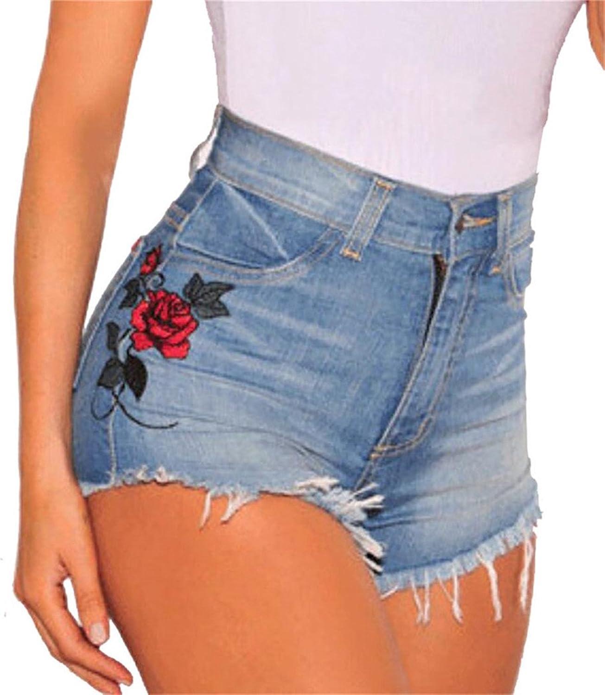 1bad634ed0df9 Spirio Women's Vingtage Denim Jean Distress Embroidery High Waisted Hot  Shorts