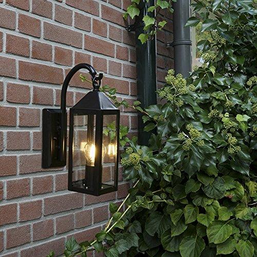 QAZQA Klassisch Antik Landhaus Vintage Rustikal Modern Außenleuchte Wandleuchte fur Außen Gartenlampe Gartenleuchte Bussum Außen Wand schwarz Außenbeleuchtung Edelstahl Rechteckig Län
