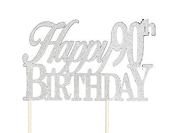 Amazoncom Silver Happy 90th Birthday Cake Topper Kitchen Dining