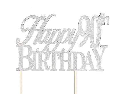 Amazoncom Silver Happy 90th Birthday Cake Topper Kitchen Dining