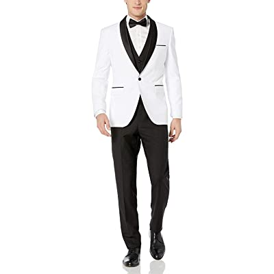 Adam Baker Men's 100% Wool Modern Fit Single Breasted Three Piece Shawl Collar Tuxedo - Colors at Men's Clothing store