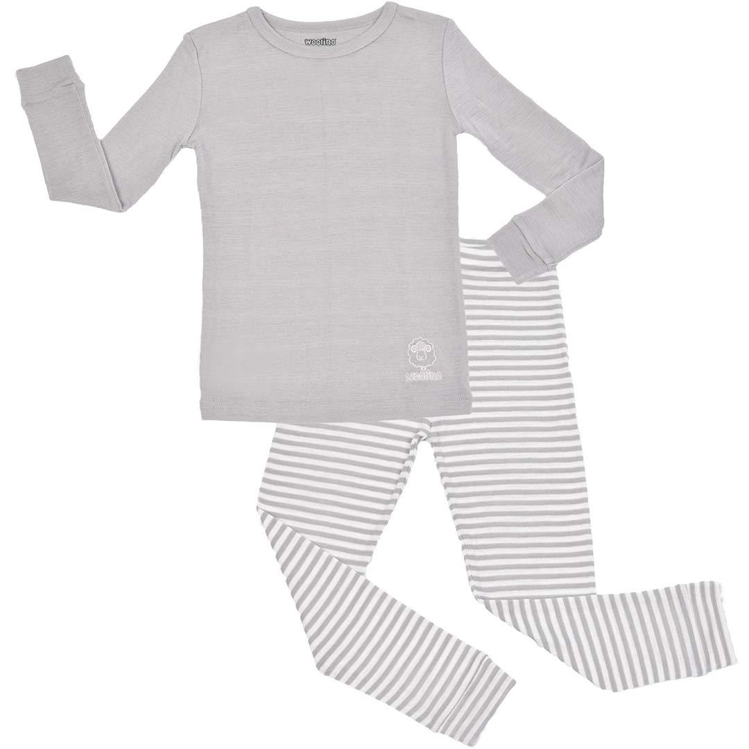 Woolino Long Sleeve Pajama Set - Merino Wool, 2-3 Years, Gray by Woolino