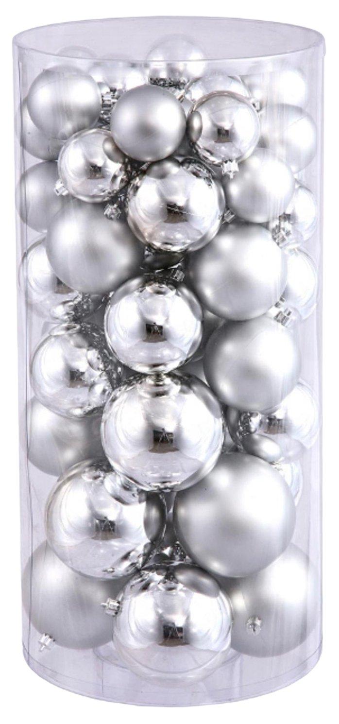 Vickerman Balls Shiny/Matte, Includes 50 Per Box, 1.5-Inch by 2-Inch, Silver