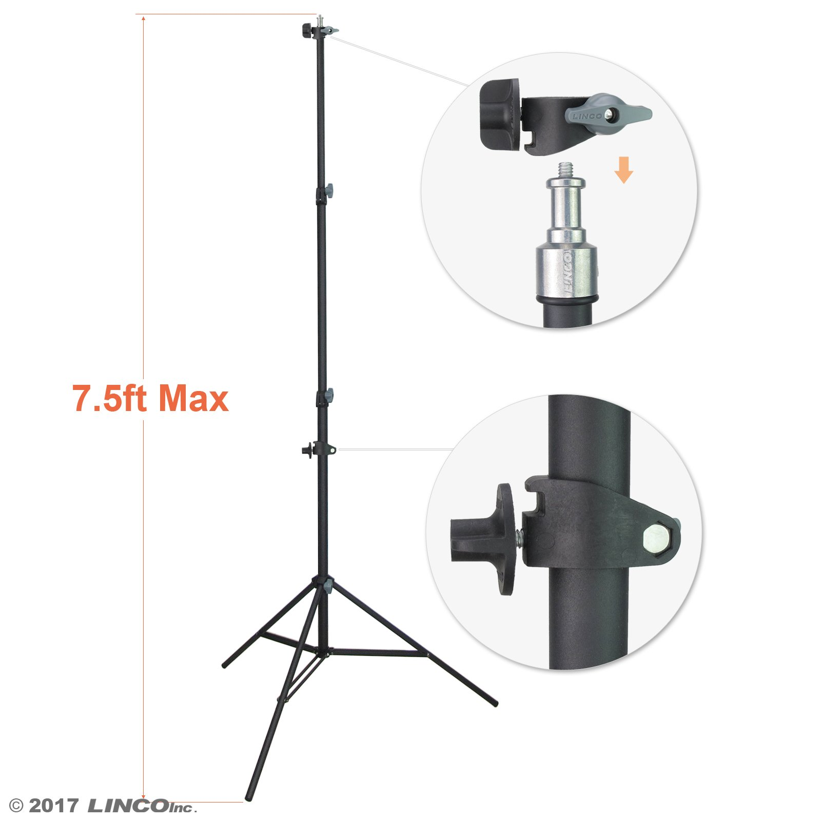 "LINCO Lincostore 90"" / 7.5ft Studio Photography Photo Light Stand / Reflector Panel Stand With Reflector Holder"