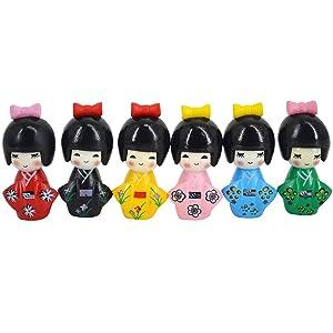 Monique 6 pcs Japanese Kimono Girls Dolls Miniature Ornament Kit Fairy Garden Home Office Decoration Keychain Accessories