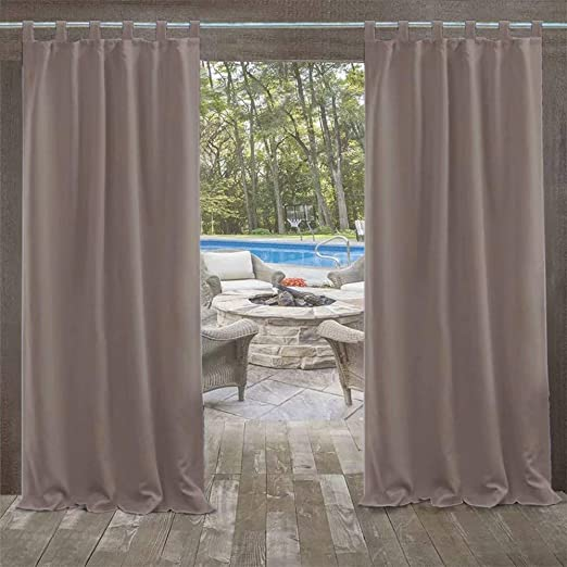 DOMDIL - Cortinas para exteriores, cortinas para jardín, cortinas para balcón, 132 x 275 cm, cortinas con