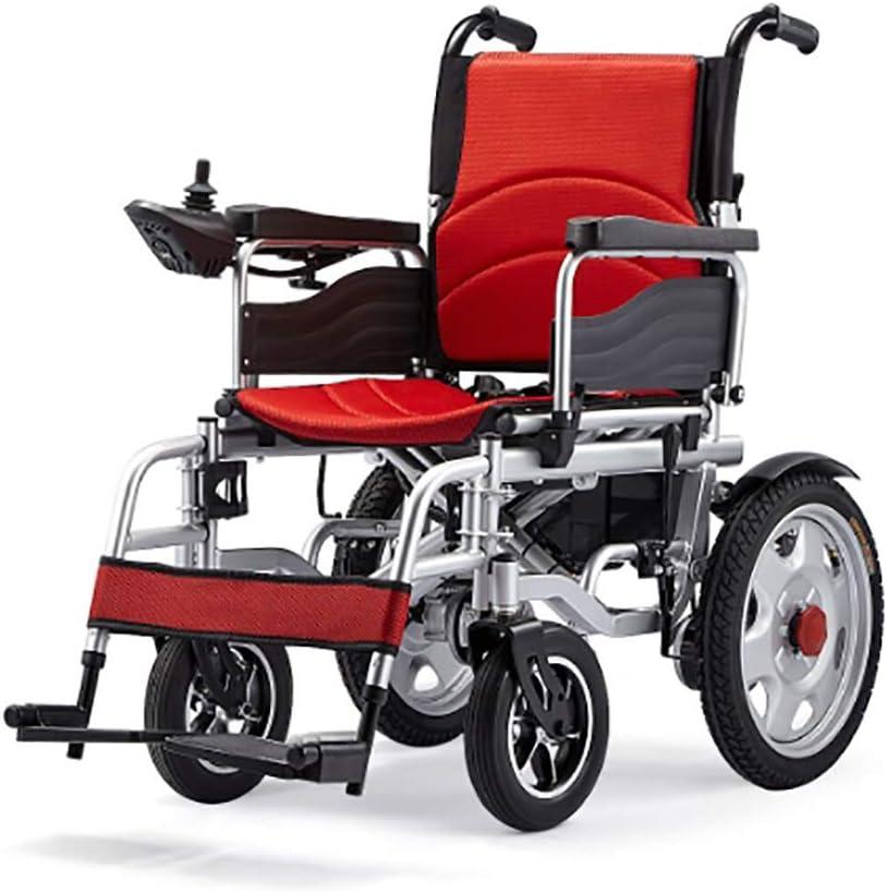 ANAN Silla de Ruedas eléctrica, Silla de Ruedas eléctrica portátil Plegable 250W * 2 Motor Dual con energía eléctrica para Personas discapacitadas de Edad Avanzada,Rojo