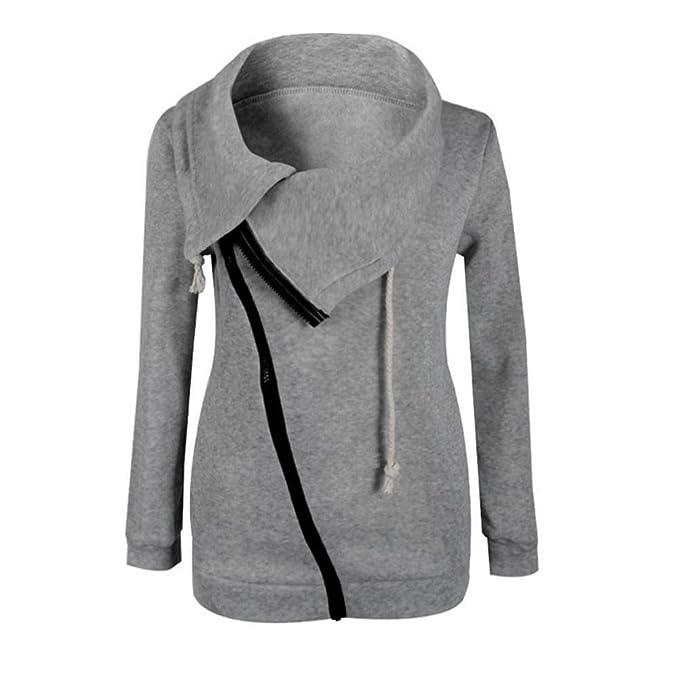 Tongshi Invierno de las mujeres de la blusa de la cremallera con capucha sudadera con capucha