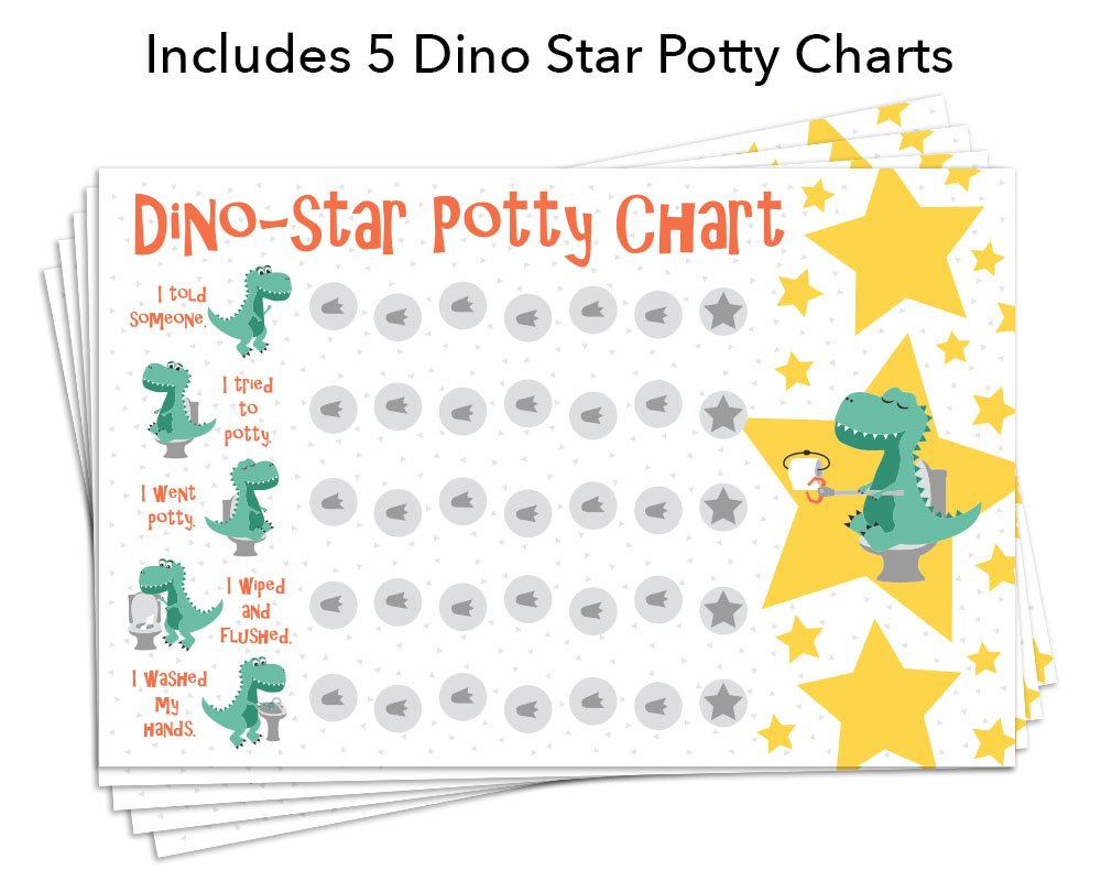 photo about Potty Chart Printable named Potty Working out Benefit Chart with 189 Star Stickers for Infant Boys Or Women of all ages - Dinosaur Concept - Weighty 11 x 17 Measurement
