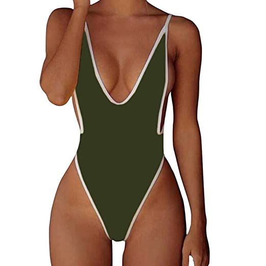 592bf2ad104fa CROSS1946 Sexy Womens Monokini Deep V One Piece Backless Cheeky Swimwear  Semi Thong Bikini S Army