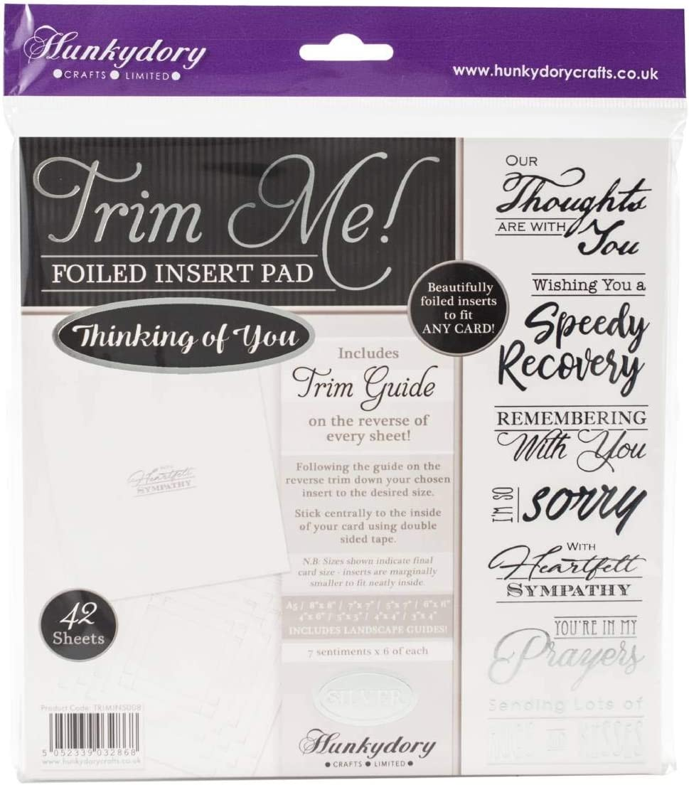 42 Sheets Hunkydory Crafts Trim Me Silver-Foiled Thinking of You Inserts for Cards