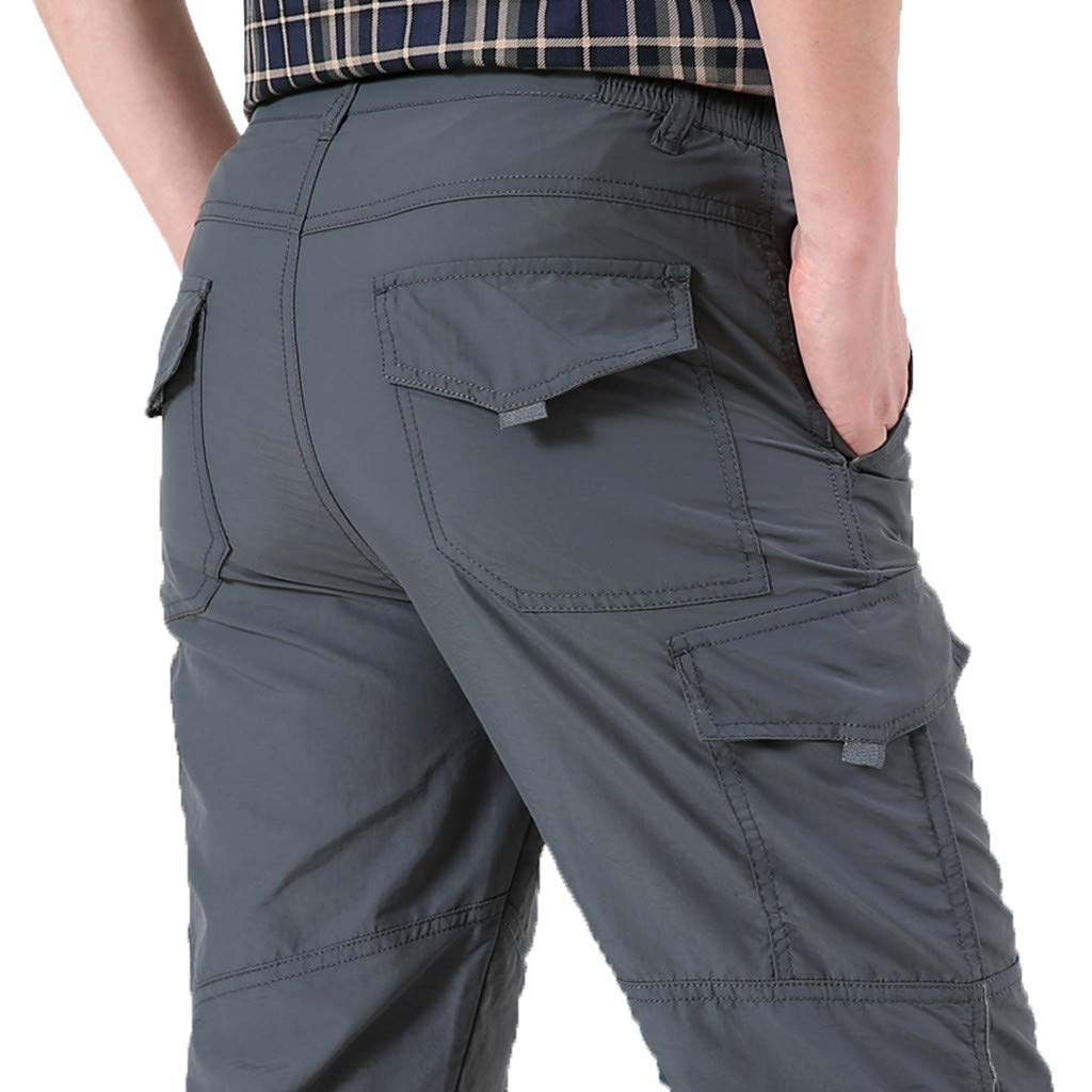 2019 New Men Pants,Summer Outdoor Jogger with Pocket Wild Straight Fast-Drying Sports Pants (XL, Gray) by Yihaojia Men Pants (Image #3)