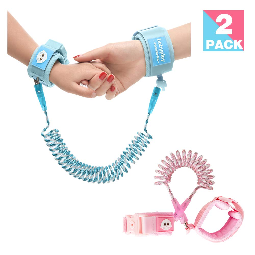 Reflective Anti Lost Wrist Link Rope Lock Wrist Band Walking Hand Belt Straps Safety Wristband Harnesses Leashes 360° Rotate Night Vision for Toddlers Child Baby Pack of 2 (4.92ft Pinky & 8.2ft Blue)