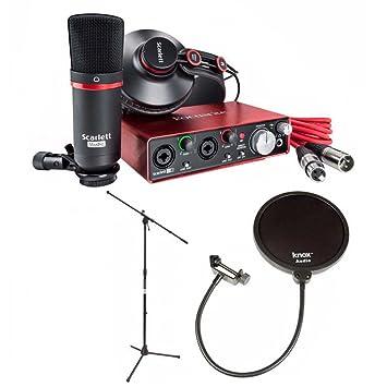 Focusrite Scarlett 2i2 Studio Interface With Mic Stand and Knox Pop on focusrite saffire 6 driver, focusrite control 2802, laptop recording studio, focusrite with phantom, focusrite usb, focusrite studio bundle,